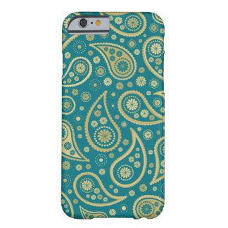 Paisley Funky Print in Teal & Golds Barely There iPhone 6 Case