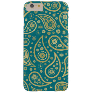 Paisley Funky Print in Teal & Golds Barely There iPhone 6 Plus Case