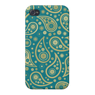Paisley Funky Print in Teal & Golds Case For The iPhone 4