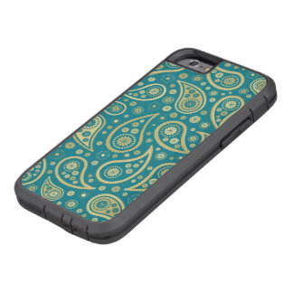 Paisley Funky Print in Teal & Golds Tough Xtreme iPhone 6 Case