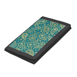 Paisley Funky Print in Teal & Golds Trifold Wallet