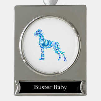 Paisley Great DAne Silver Plated Banner Ornament