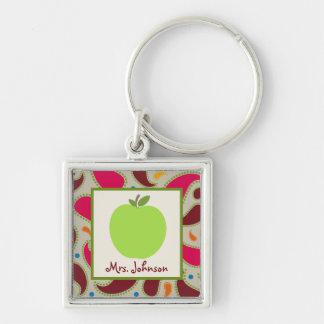 Paisley & Green Apple Personalized Teacher Key Ring
