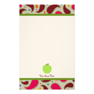 Paisley & Green Apple Personalized Teacher Stationery
