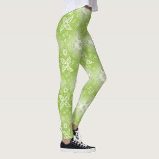 Paisley green summer pattern. leggings