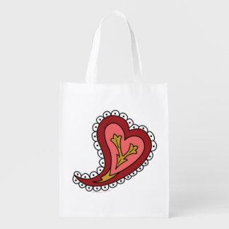 Paisley Heart Reusable Grocery Bag