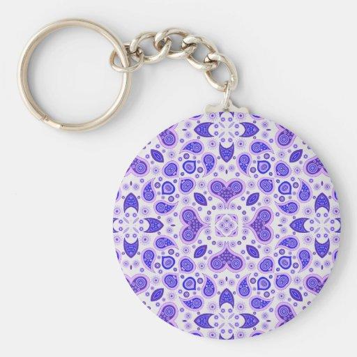 Paisley hearts blue key chain