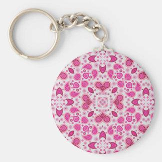 Paisley hearts pink key chain