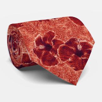 Paisley Hibiscus Retro Single-side Printed Tie