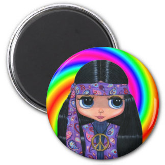 Paisley Hippie Doll Swirl Magnet