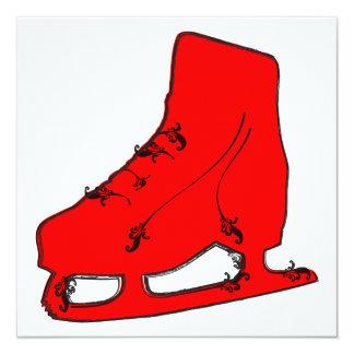paisley ice skate 13 cm x 13 cm square invitation card