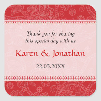Paisley Impression in Crimson Wedding Sticker
