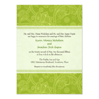 Paisley Impression in Green Wedding Invitation