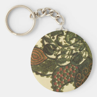Paisley In Green And Beige Basic Round Button Key Ring