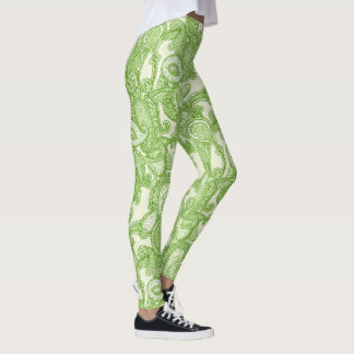 Paisley in Green Leggings