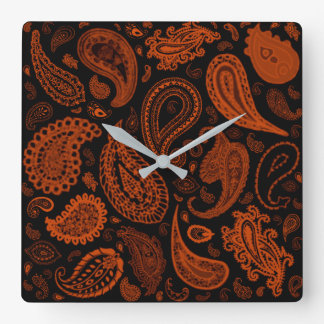 Paisley in Rust by Julie Everhart Square Wall Clock
