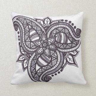 Paisley leaf zentangled cushion