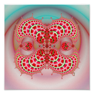 Paisley Melons Merging (12 by 12)  Art Print