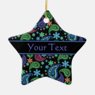 Paisley on Black Double-Sided Star Ceramic Christmas Ornament
