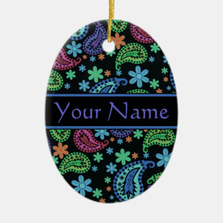 Paisley on Black Double-Sided Oval Ceramic Christmas Ornament