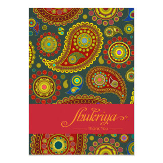 Paisley on Teal Indian Pattern Thank You Card 13 Cm X 18 Cm Invitation Card