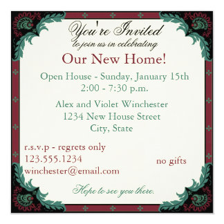 Paisley Open House/Housewarming Party 5.25x5.25 Square Paper Invitation Card