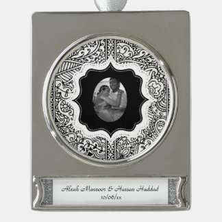 Paisley Passion - Black (Henna) Silver Plated Banner Ornament