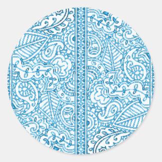 Paisley Passion - Blue (Henna) Classic Round Sticker