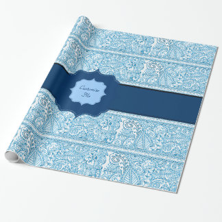Paisley Passion - (Blue) (Henna) (Monogram) Wrapping Paper