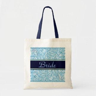 Paisley Passion - Blue (Henna) (Wedding) Budget Tote Bag