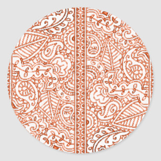 Paisley Passion - Orange (Henna) Classic Round Sticker