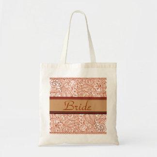 Paisley Passion - Orange (Henna) (Wedding) Budget Tote Bag