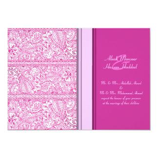 Paisley Passion - Pink (Henna) (Wedding) 13 Cm X 18 Cm Invitation Card