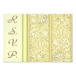 Paisley Passion - Yellow (Henna) (Wedding) 9 Cm X 13 Cm Invitation Card