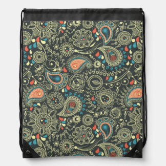 Paisley Pattern 3 Drawstring Bag