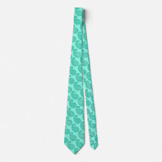 Paisley pattern, aqua and turquoise tie