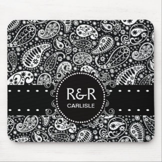 Paisley Pattern Black and White  Personalized Mouse Mat