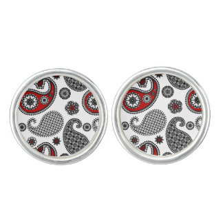 Paisley pattern, Black, White and Red Cufflinks
