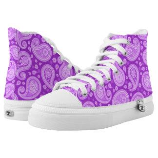 Paisley pattern bright purple high tops
