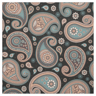 Paisley pattern brown teal black elegant fabric