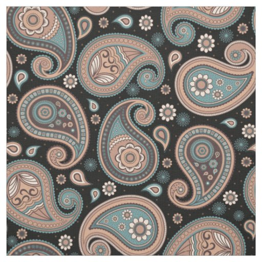 Paisley pattern brown teal black elegant fabric