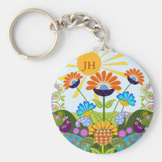 Paisley pattern, Fantasy Flowers & custom Monogram Key Ring