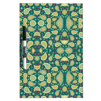 Paisley Pattern Girly Green Retro Floral Swirl Dry Erase Boards