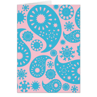 Paisley Pattern in Pink and Turquoise Blue. Card