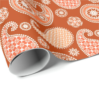 Paisley pattern, Mandarin Orange and White Wrapping Paper