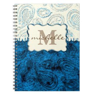 Paisley Pattern Monogram Spiral Notebook