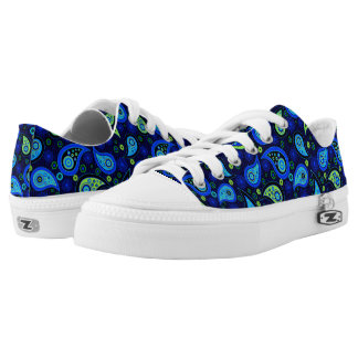 Paisley pattern Peacock blue green Low Tops