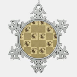 Paisley Pattern Pewter Snowflake Decoration