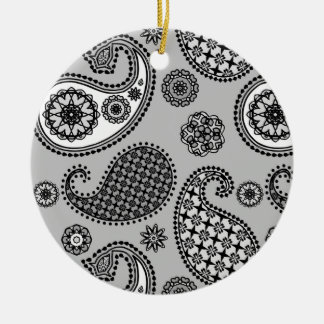 Paisley pattern, shades of grey, black and white christmas tree ornaments