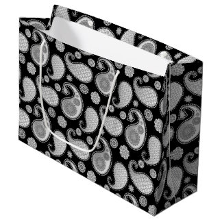 Paisley pattern, Silver Gray / Grey on Black Large Gift Bag